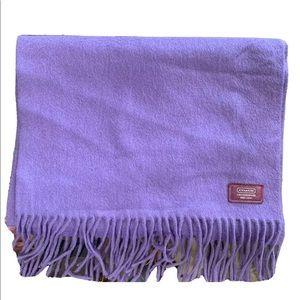 Coach 100% Cashmere Purple Fringe Scarf 6'x1'